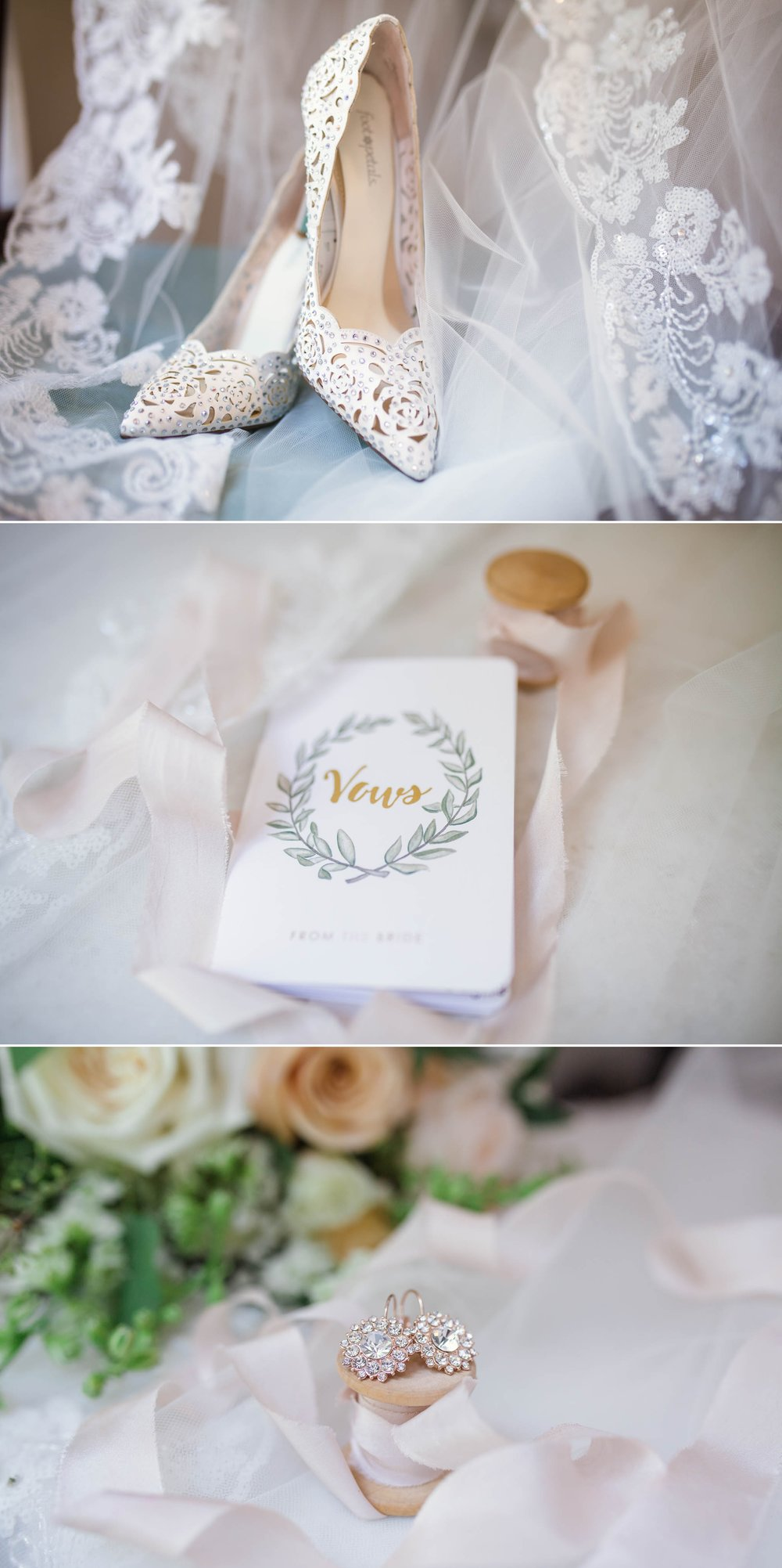 Details of the Bride, shoes, vows and ear rings - Yansi + Eddie - Wedding at Cape Fear Botanical Garden - Fayetteville North Carolina Photographer