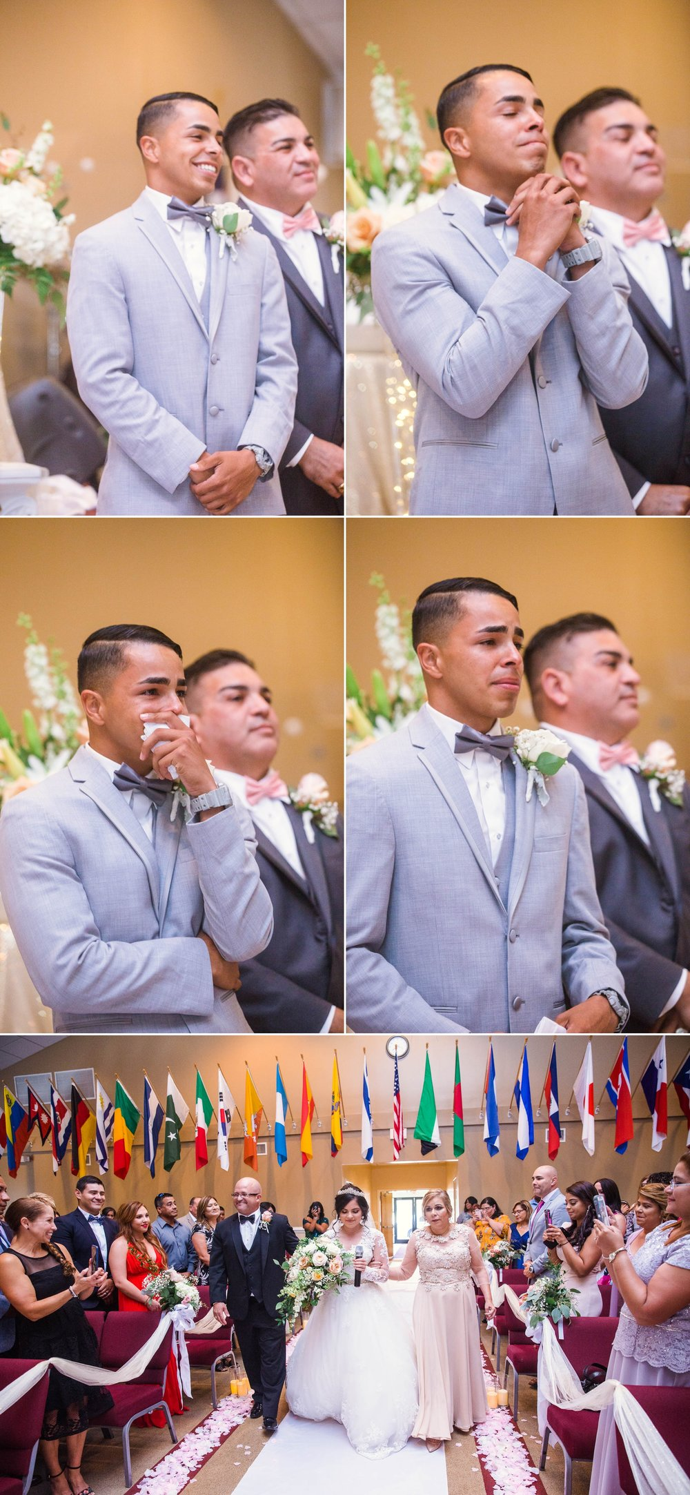First Look of the groom seeing his bride - Ceremony - Yansi + Eddie - Wedding at Capilla Cristo Redentor - Fayetteville North Carolina Photographer