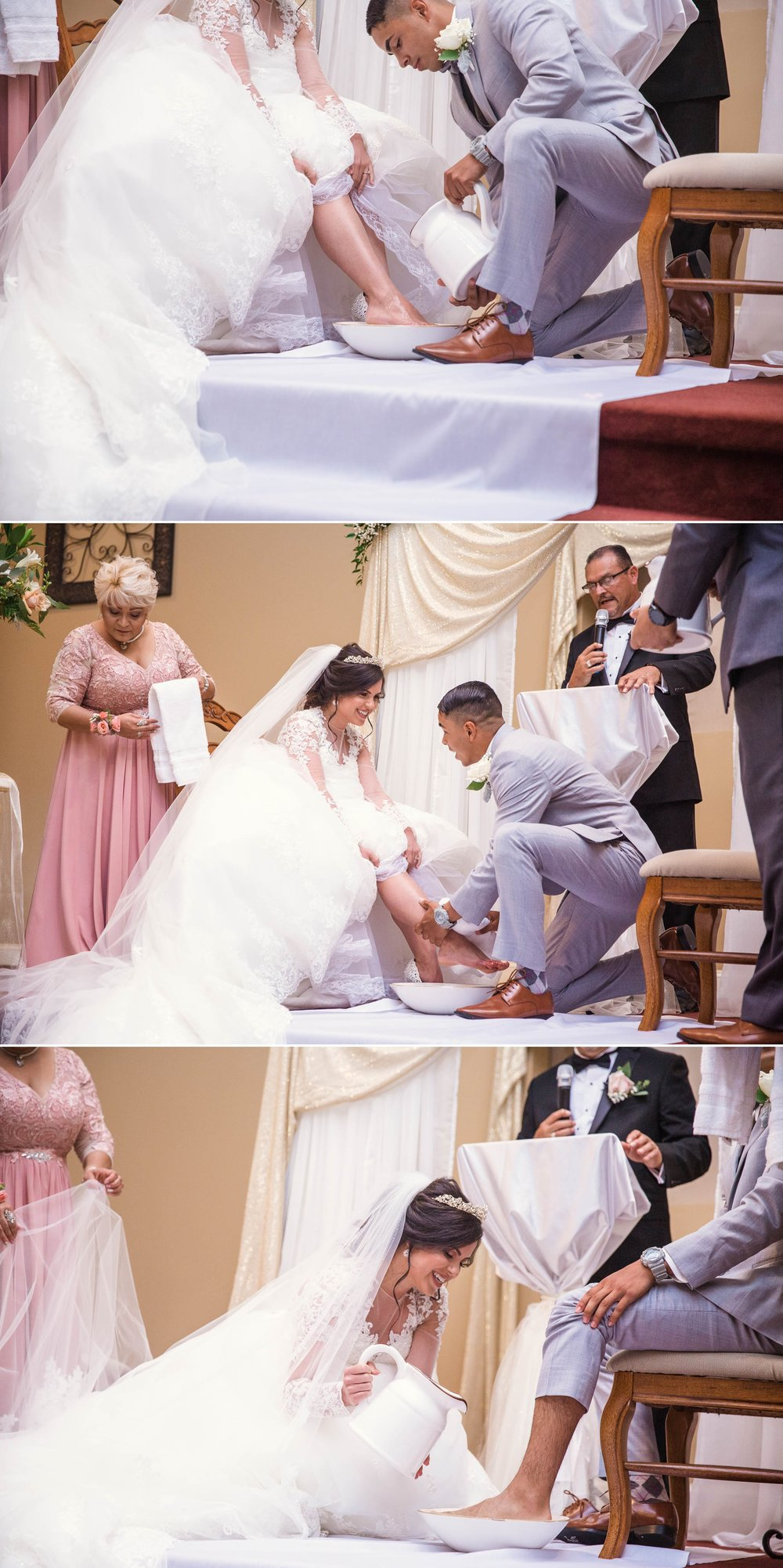 Foot Washing Ceremony Ceremony - Yansi + Eddie - Wedding at Capilla Cristo Redentor - Fayetteville North Carolina Photographer