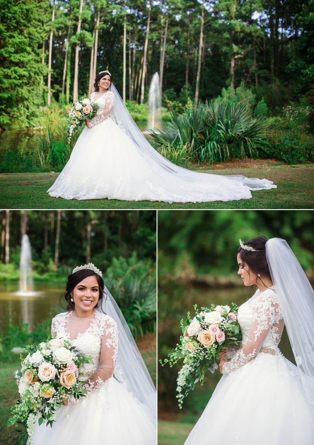 Bridal Portraits - Yansi + Eddie - Wedding at Cape Fear Botanical Garden - Fayetteville North Carolina Photographer