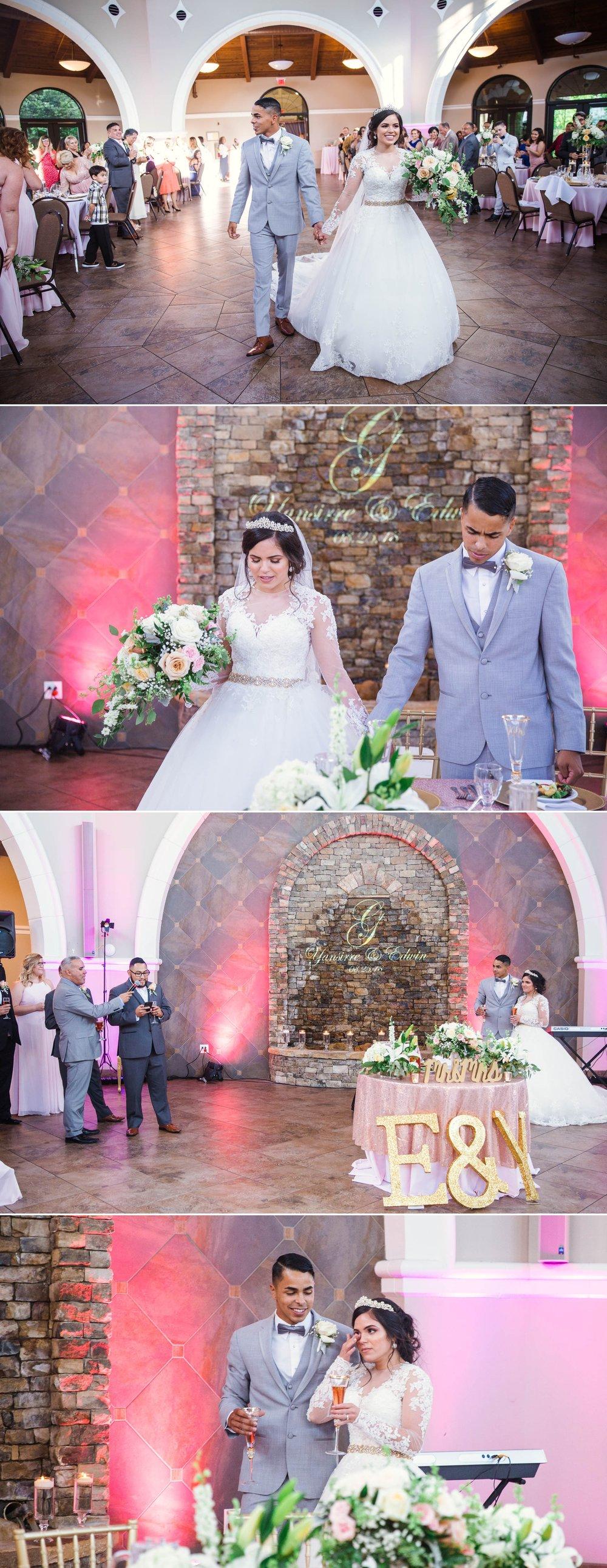 Bride and groom walking in, speaches and praying - Yansi + Eddie - Wedding at Cape Fear Botanical Garden - Fayetteville North Carolina Photographer