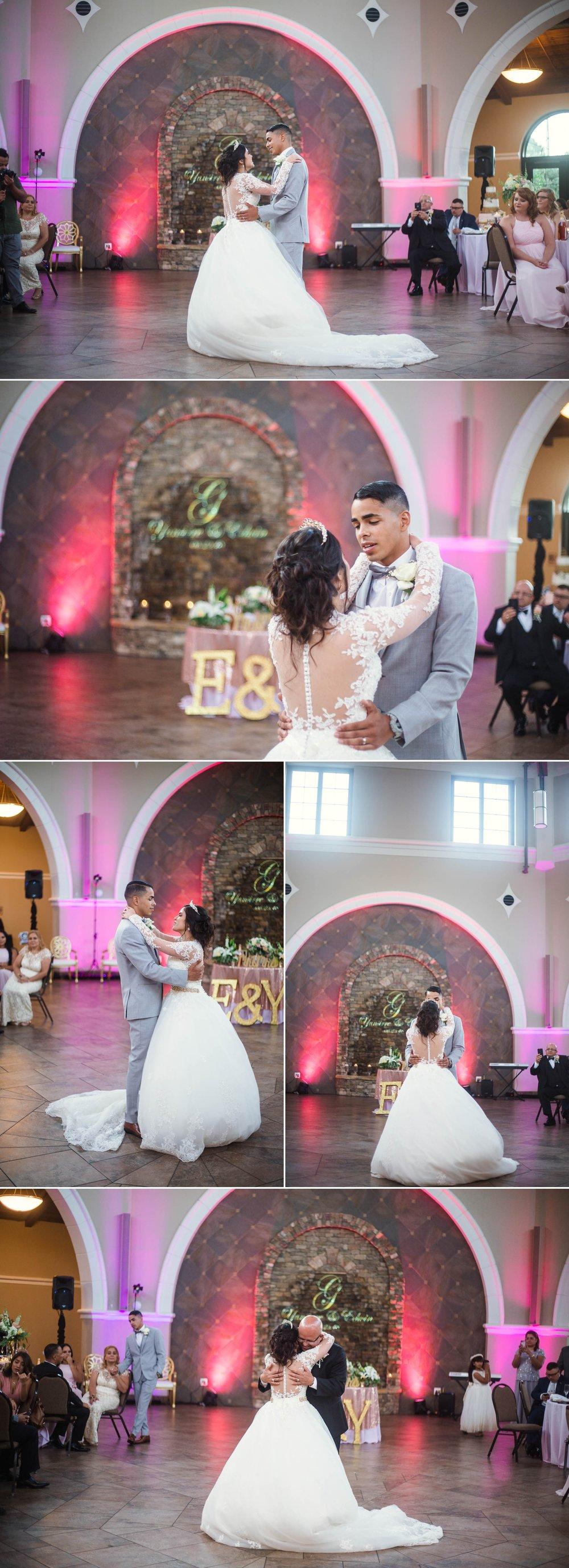 First Dance between Bride and Groom, Father Daughter Dance - Yansi + Eddie - Wedding at Cape Fear Botanical Garden - Fayetteville North Carolina Photographer