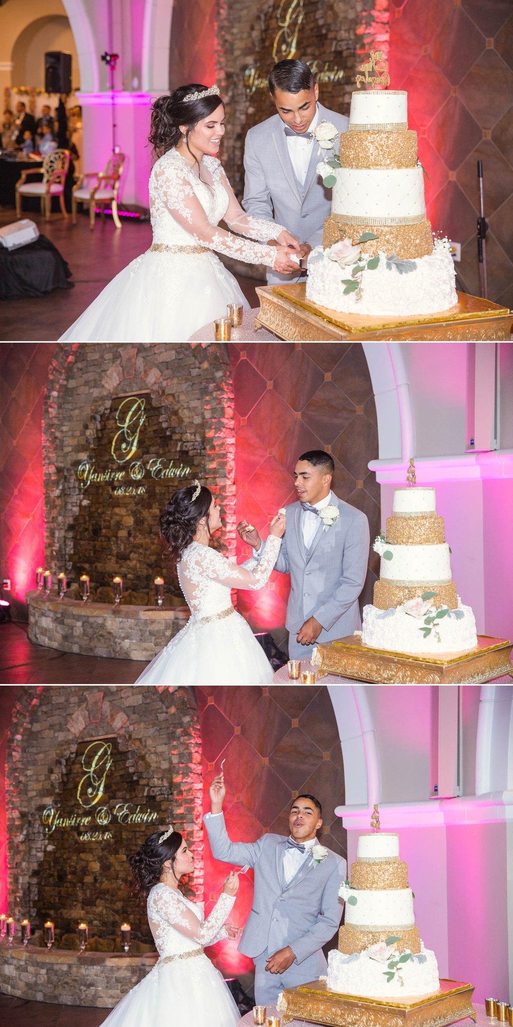 Cutting of the Wedding Cake - Yansi + Eddie - Wedding at Cape Fear Botanical Garden - Fayetteville North Carolina Photographer