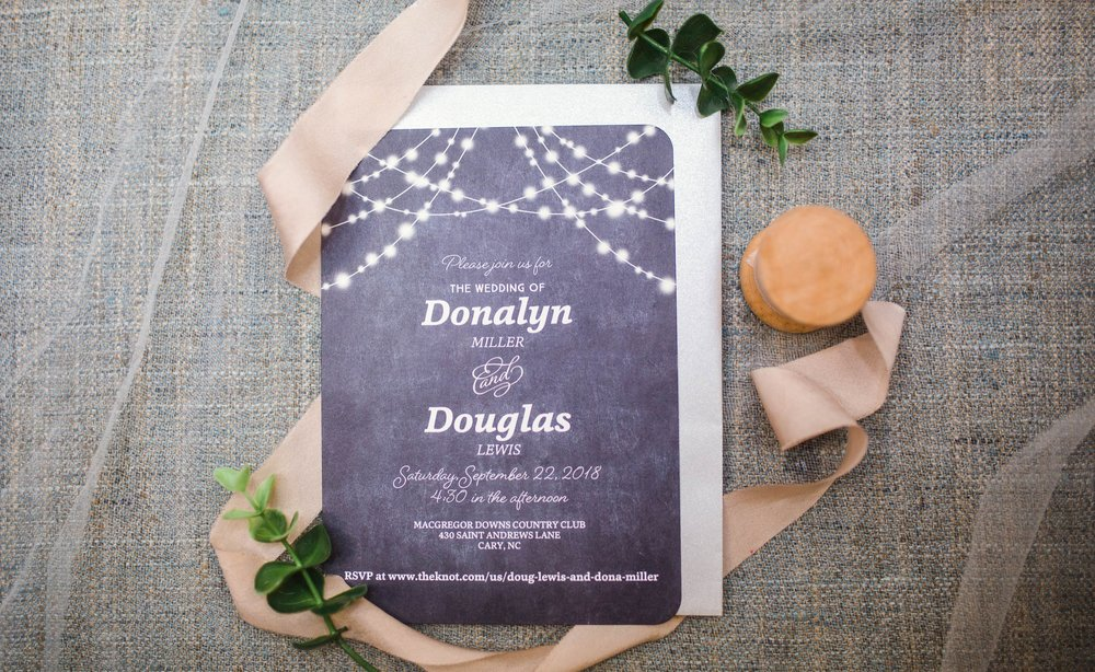 Wedding Invititation - Dona + Doug - MacGregor Downs Country Club in Cary, NC - Raleigh Wedding Photographer