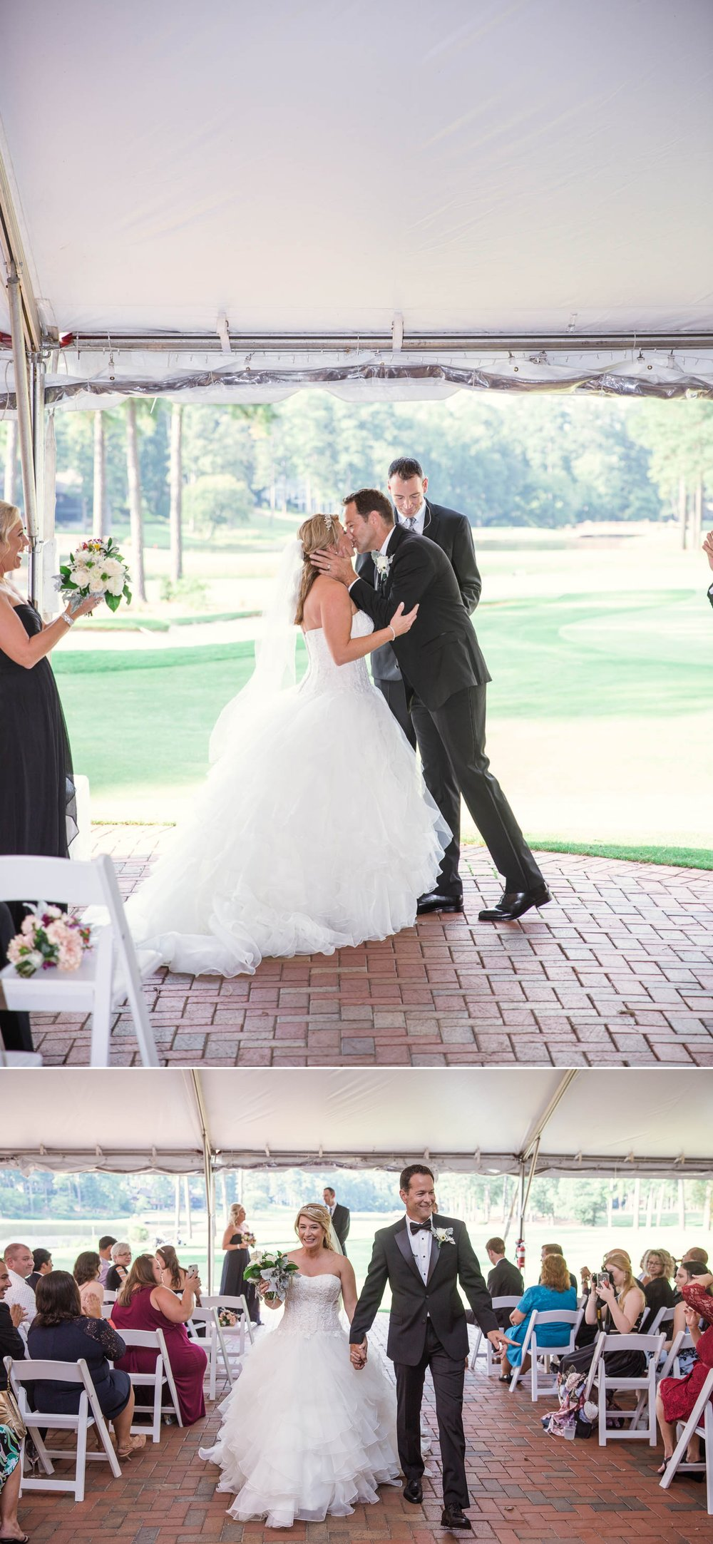 First Kiss - Dona + Doug - MacGregor Downs Country Club in Cary, NC - Raleigh Wedding Photographer