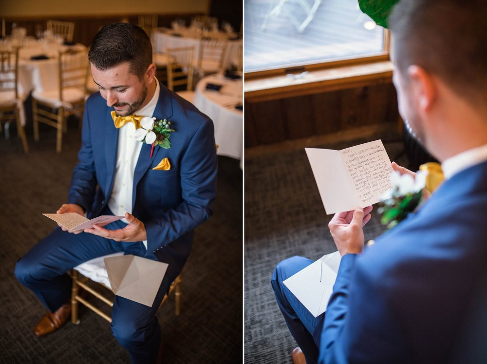 Groom reading the letter from his bride - Meredith + Jason - The Crest Center and Pavilion in Asheville, NC - Raleigh Wedding Photographer