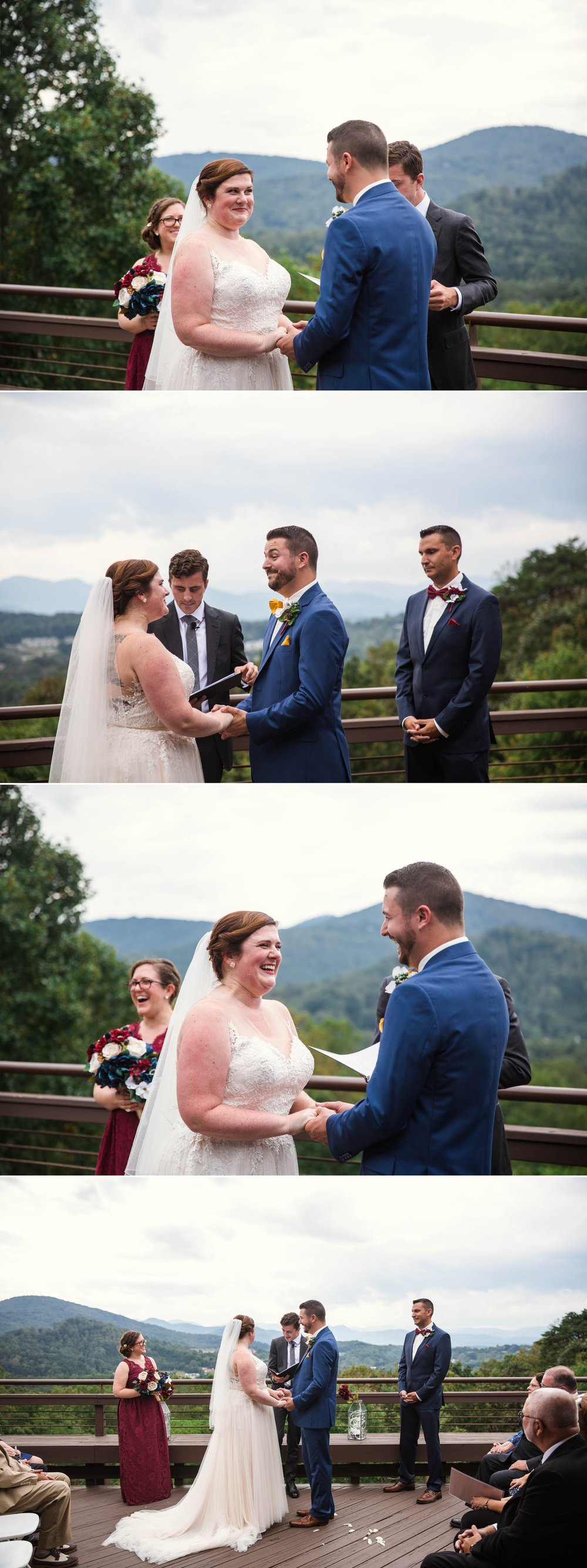 Ceremony overlooking the Blue Ridge Mountains - Meredith + Jason - The Crest Center and Pavilion in Asheville, NC - Raleigh Wedding Photographer