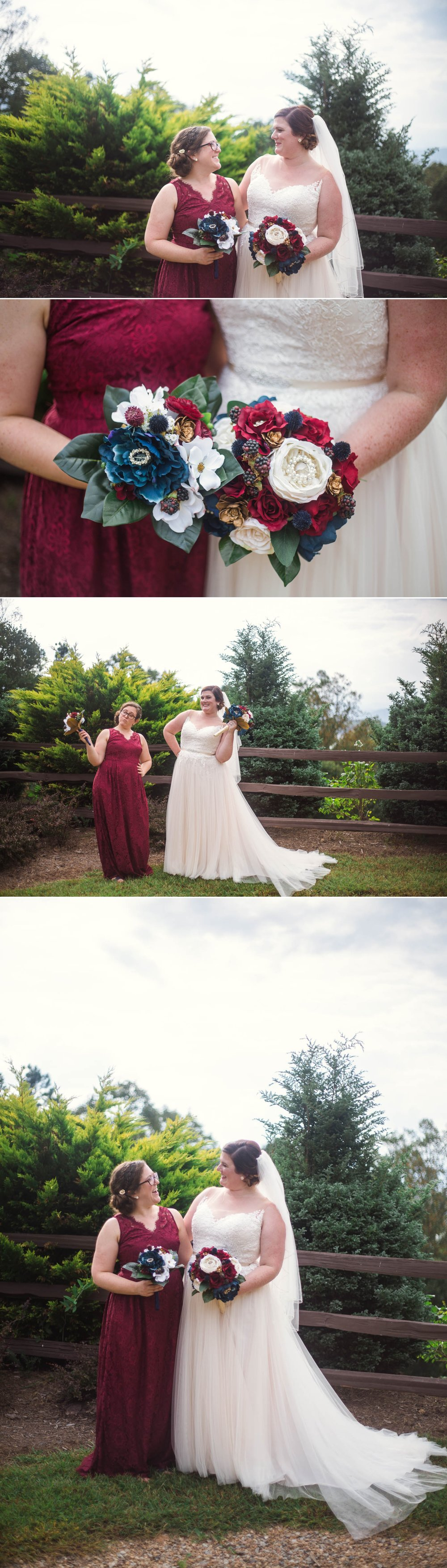 Portraits of the Bride and her Bridesmaid - Meredith + Jason - The Crest Center and Pavilion in Asheville, NC - Raleigh Wedding Photographer