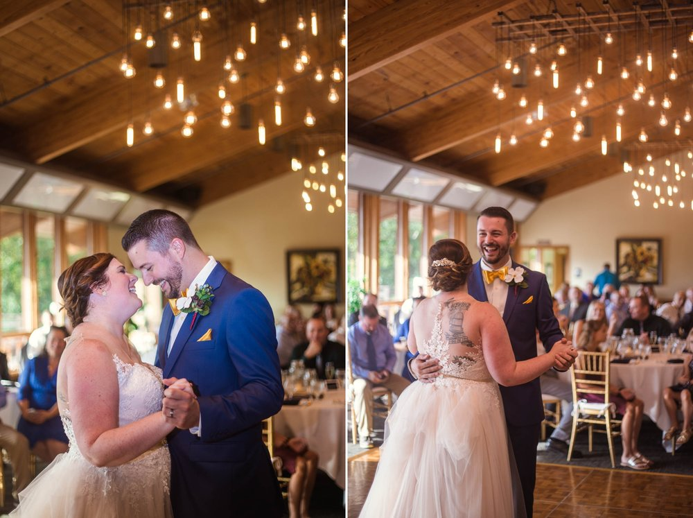 First Dance between Bride and Groom - Meredith + Jason - The Crest Center and Pavilion in Asheville, NC - Raleigh Wedding Photographer