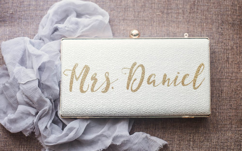 Customized Bridal Clutch - Clare + Wallace - The Jiddy Space - Raleigh North Carolina Wedding Photographer