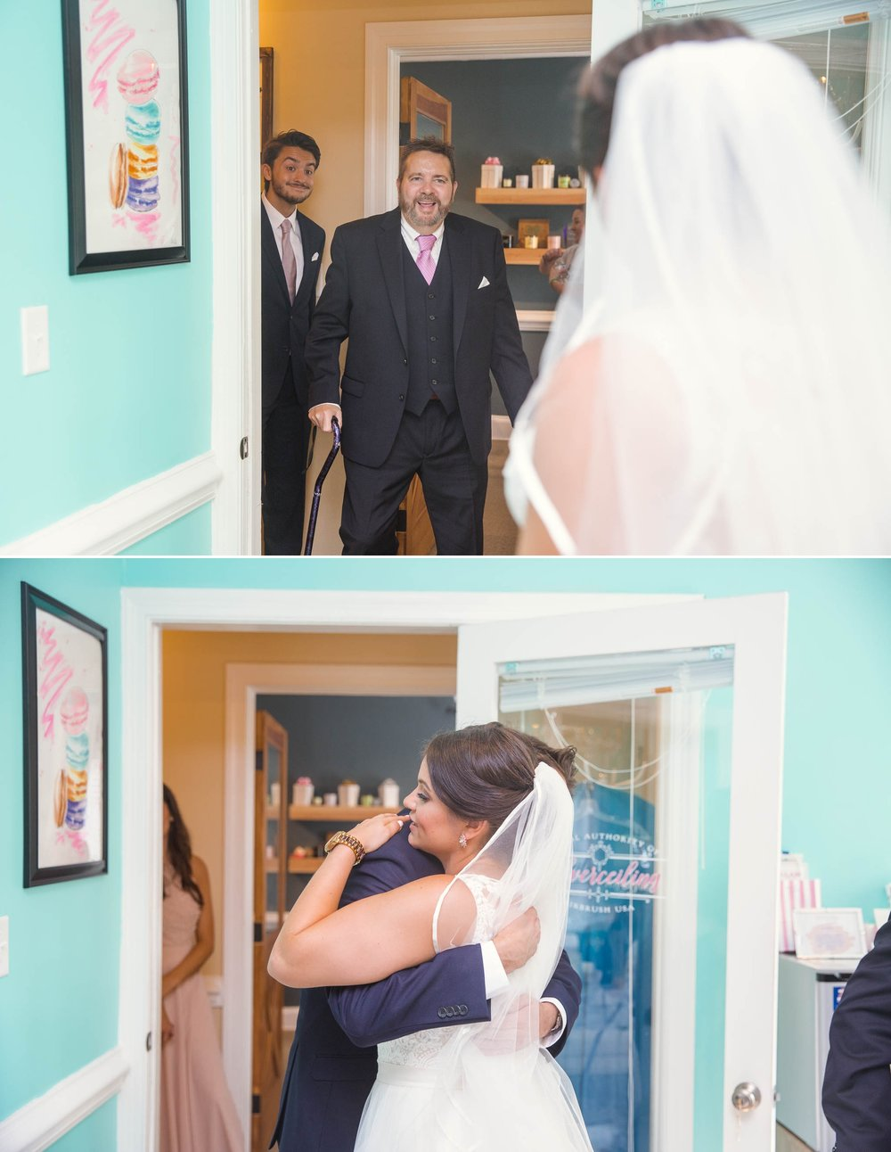 Brides first look with her dad - Clare + Wallace - The Jiddy Space - Raleigh North Carolina Wedding Photographer