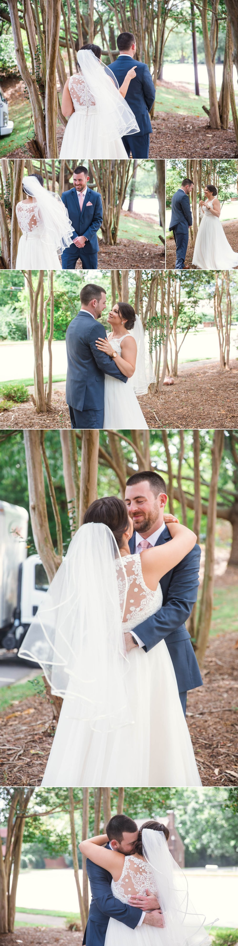 First look between bride and groom at the forever bridal house - Clare + Wallace - The Jiddy Space - Raleigh North Carolina Wedding Photographer