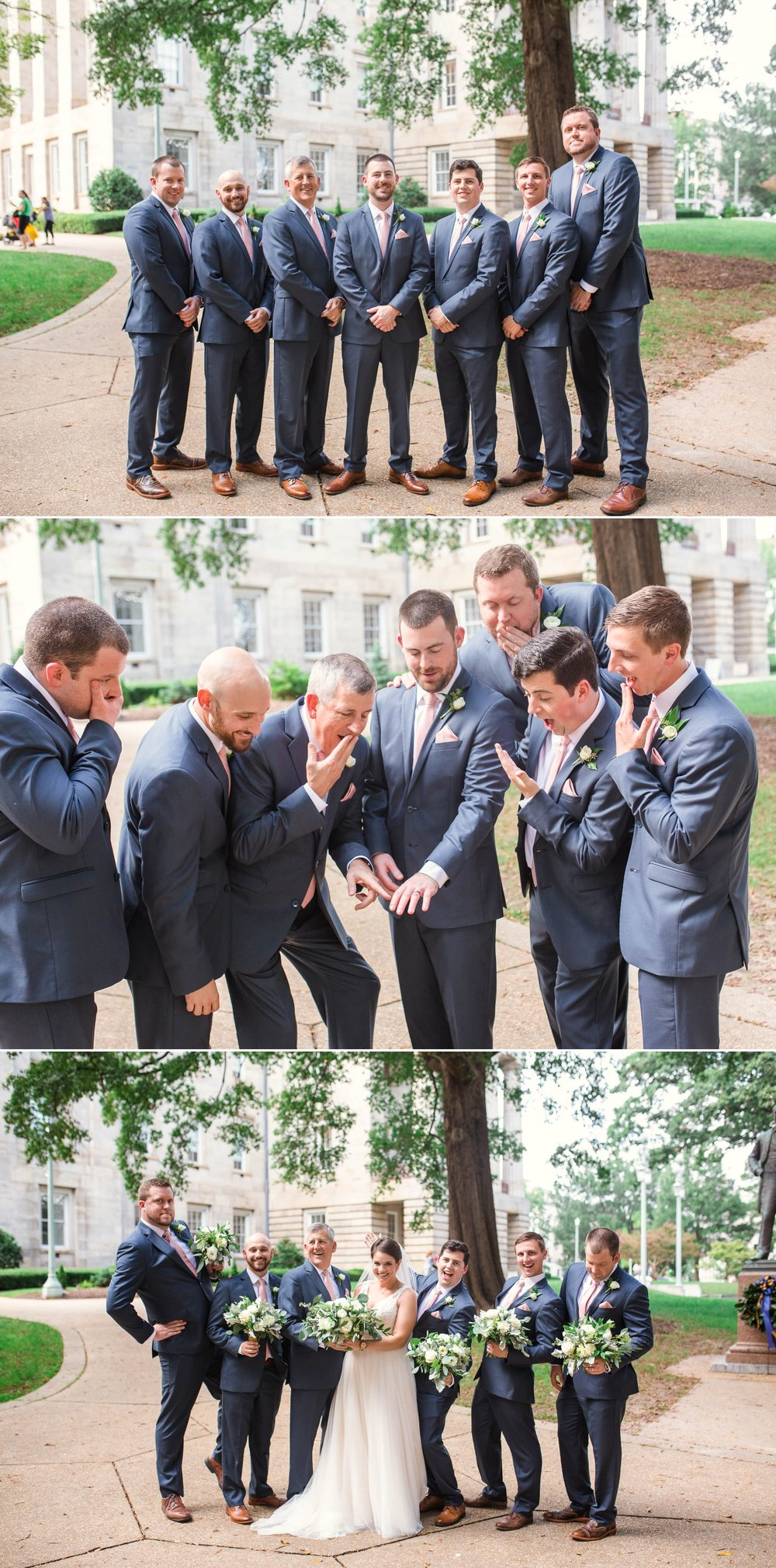 Groomsmen Portraits downtown moore square - Clare + Wallace - The Jiddy Space - Raleigh North Carolina Wedding Photographer