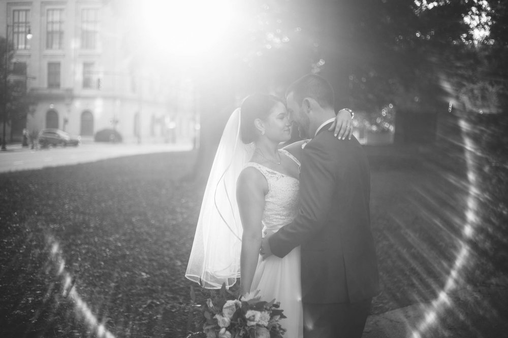 Portraits of Bride and Groom Downtown Raleigh at the Moore Square - Clare + Wallace - The Jiddy Space - Raleigh North Carolina Wedding Photographer