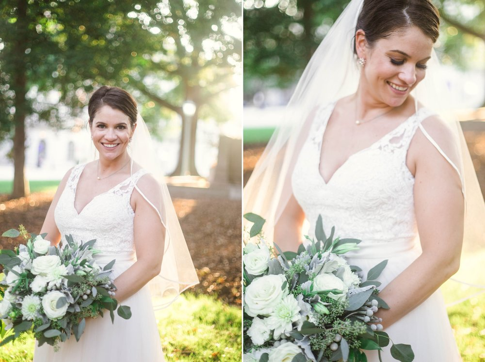 Portraits of the Bride in Downtown Raleigh at the Moore Square - Clare + Wallace - The Jiddy Space - Raleigh North Carolina Wedding Photographer