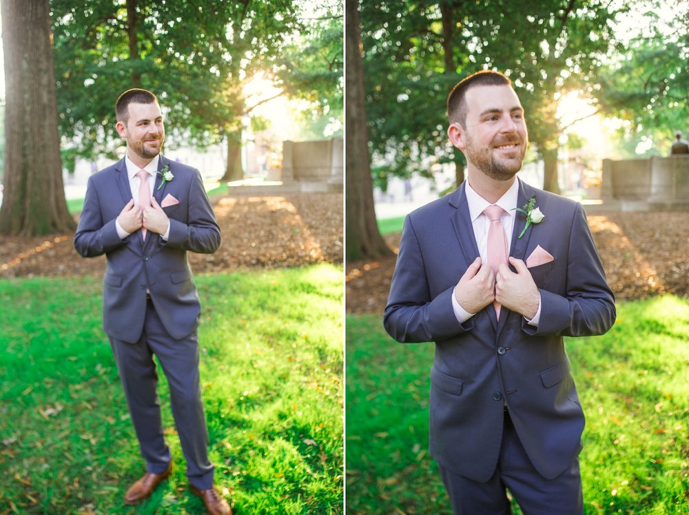 Portraits of the Groom in Downtown Raleigh at the Moore Square - Clare + Wallace - The Jiddy Space - Raleigh North Carolina Wedding Photographer