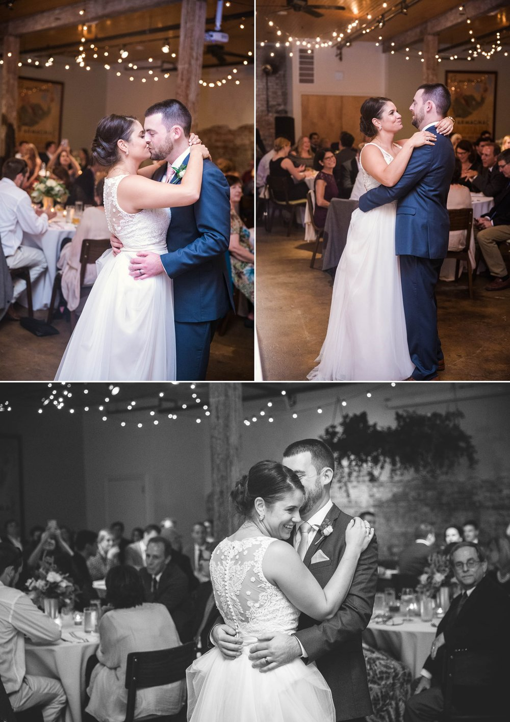 First Dance between Bride and Groom in an industrial downtown venue - Clare + Wallace - The Jiddy Space - Raleigh North Carolina Wedding Photographer
