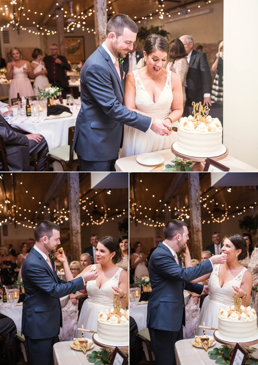 Cutting of the cake - in an industrial downtown venue - Clare + Wallace - The Jiddy Space - Raleigh North Carolina Wedding Photographer