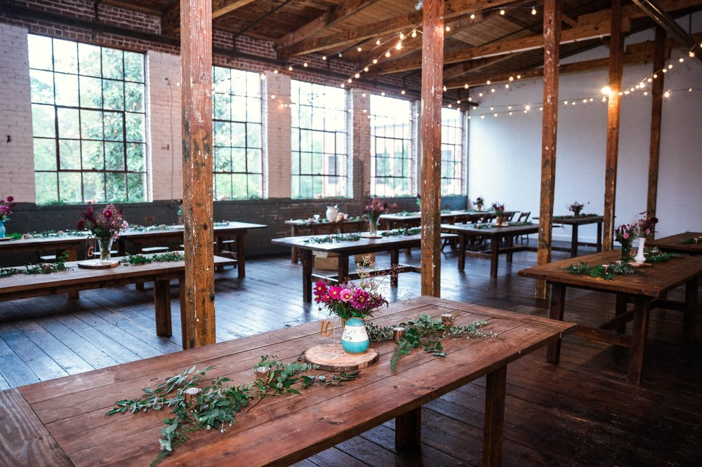 Reception Area with string lights - Brittany + Douglas - Forest Hall at Chatham Mills in Pittsboro, NC - Raleigh North Carolina Wedding Photographer