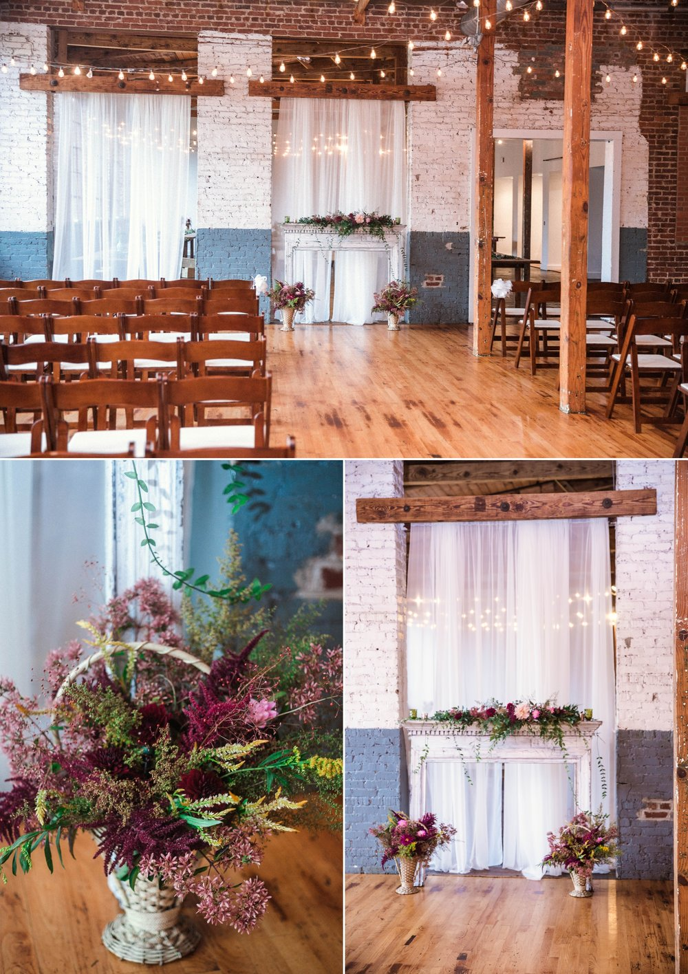Romantic Industrial Ceremony with a fireplace mantel as the altar - Brittany + Douglas - Forest Hall at Chatham Mills in Pittsboro, NC - Raleigh North Carolina Wedding Photographer