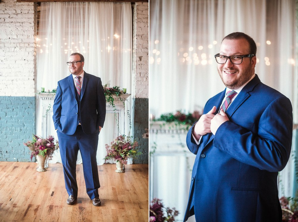 Groom Portraits Indoors in front of the Altar - Brittany + Douglas - Forest Hall at Chatham Mills in Pittsboro, NC - Raleigh North Carolina Wedding Photographer