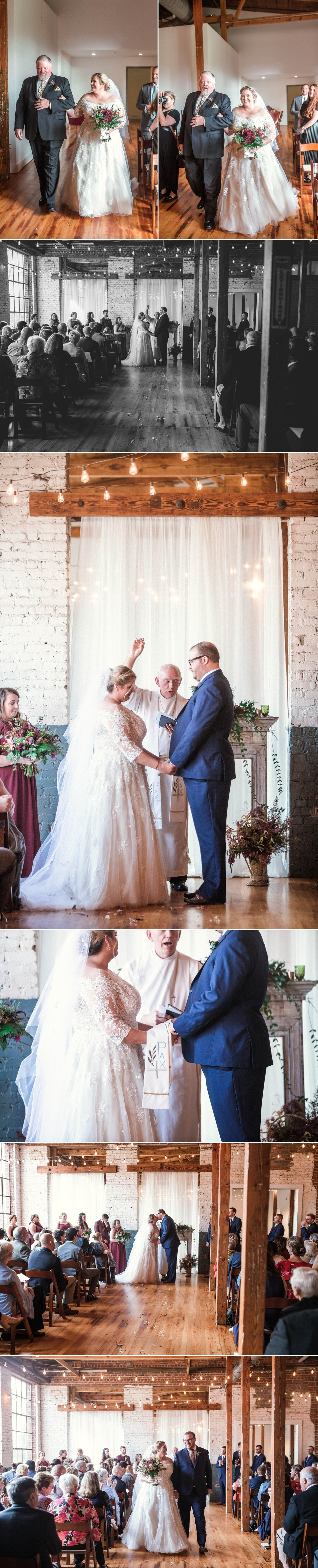 Romantic Industrial Wedding Ceremony - Brittany + Douglas - Forest Hall at Chatham Mills in Pittsboro, NC - Raleigh North Carolina Wedding Photographer
