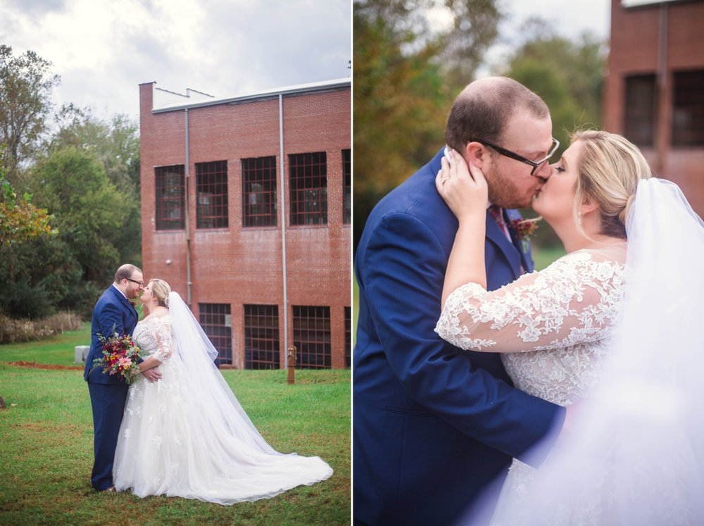 Bride and Groom Portraits in Industrial setting - Brittany + Douglas - Forest Hall at Chatham Mills in Pittsboro, NC - Raleigh North Carolina Wedding Photographer