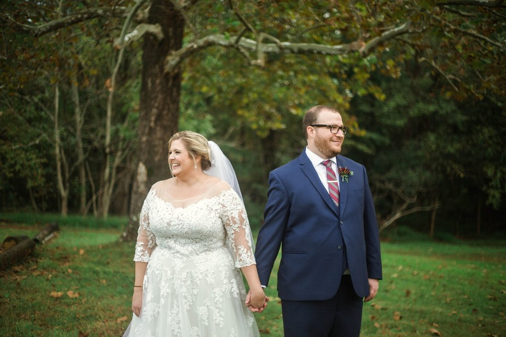 Bride and Groom POrtrait Looking away from each other - Brittany + Douglas - Forest Hall at Chatham Mills in Pittsboro, NC - Raleigh North Carolina Wedding Photographer