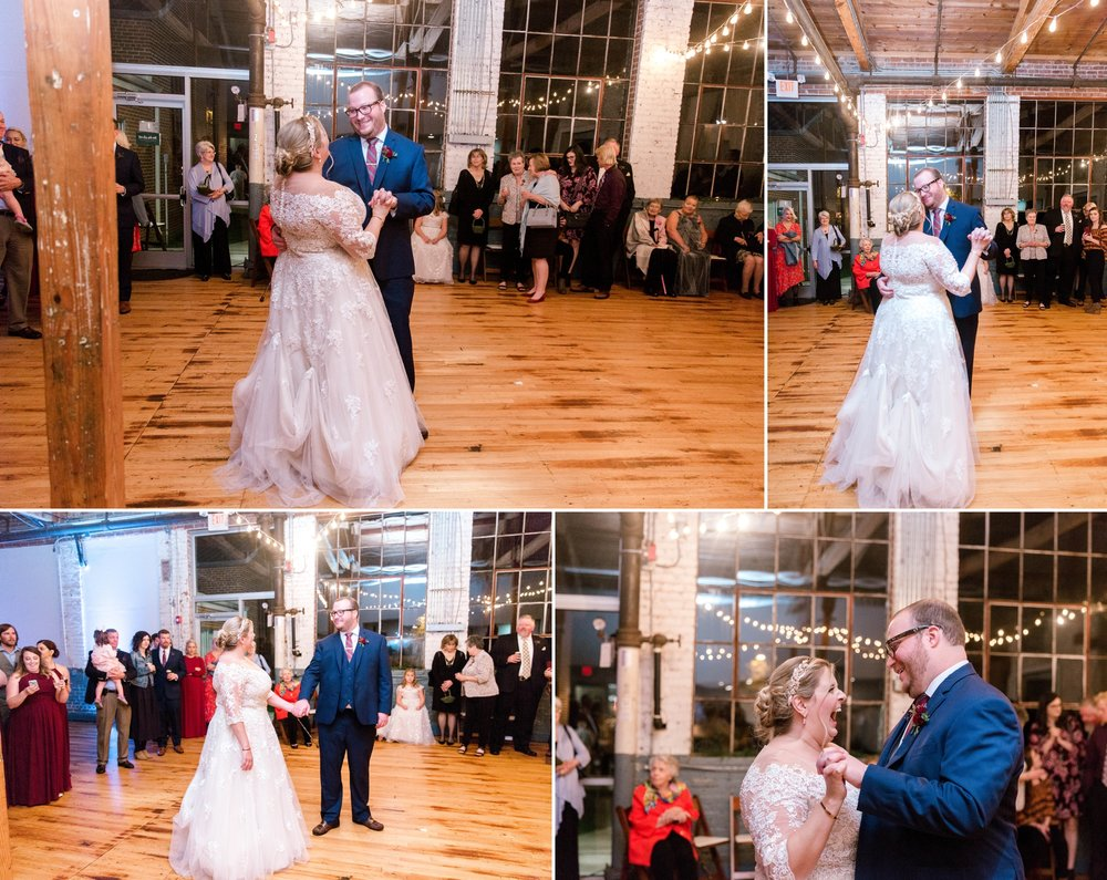First Dance between Bride and Groom in an industrial wedding venue - Brittany + Douglas - Forest Hall at Chatham Mills in Pittsboro, NC - Raleigh North Carolina Wedding Photographer