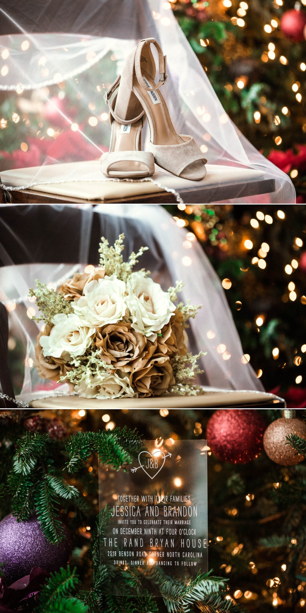 Bridal Details with the Christmas Tree as Bookeh Backdrop - Jessica + Brandon - Snowy Winter Wedding at the Rand Bryan House in Garner, NC - Raleigh North Carolina Wedding Photographer