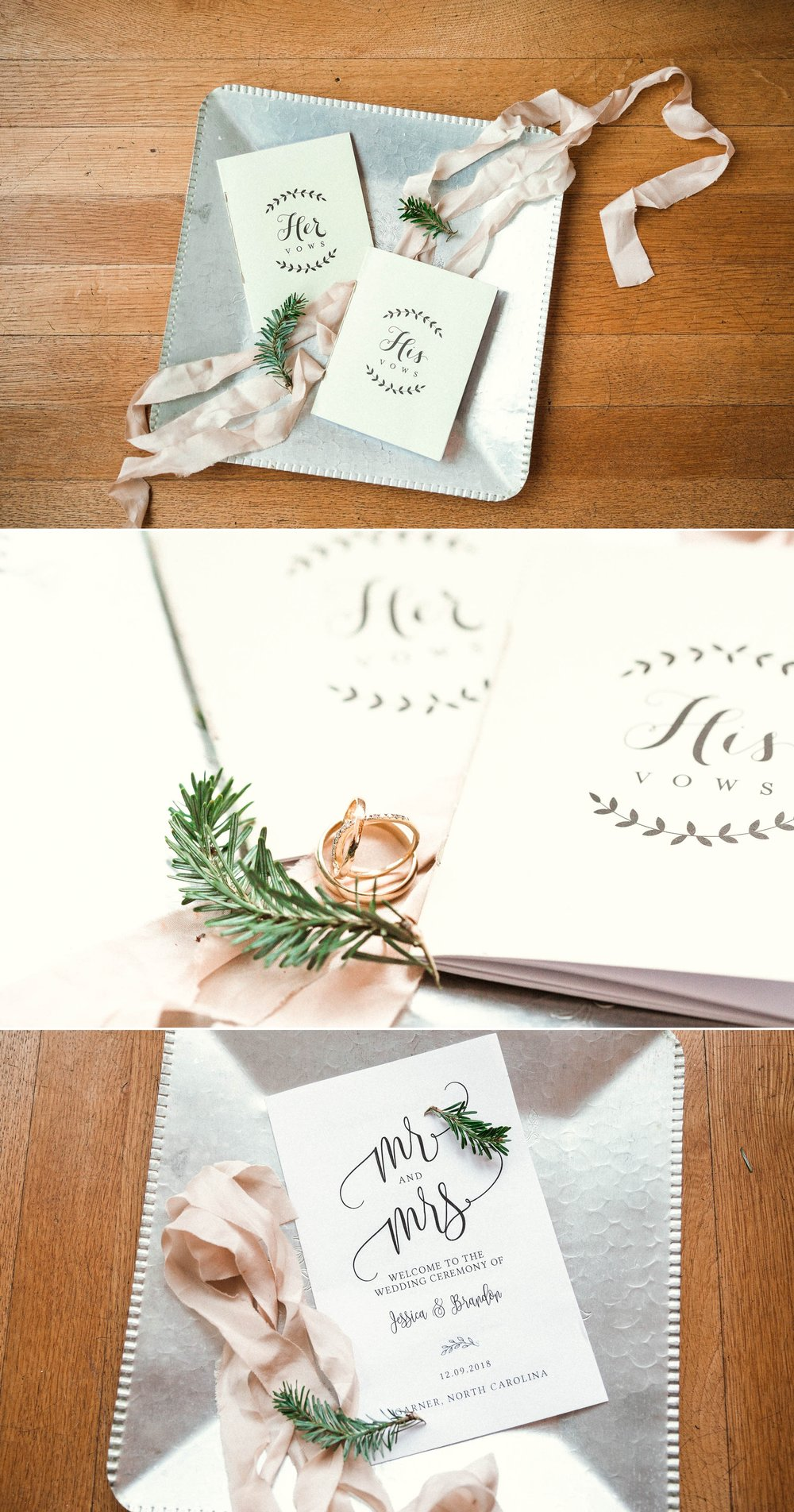 Ringshot, details of the vow books and program - Jessica + Brandon - Snowy Winter Wedding at the Rand Bryan House in Garner, NC - Raleigh North Carolina Wedding Photographer
