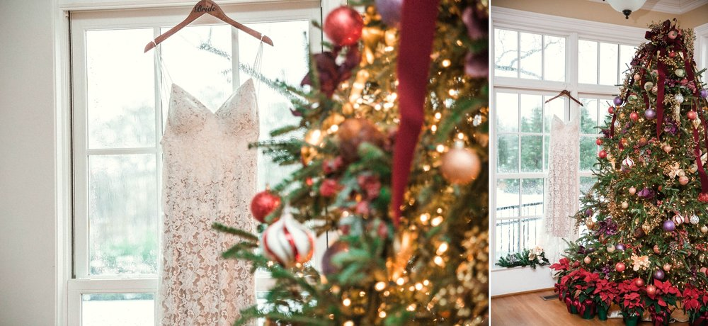 shot of the wedding dress with the christmas tree - Jessica + Brandon - Snowy Winter Wedding at the Rand Bryan House in Garner, NC - Raleigh North Carolina Wedding Photographer
