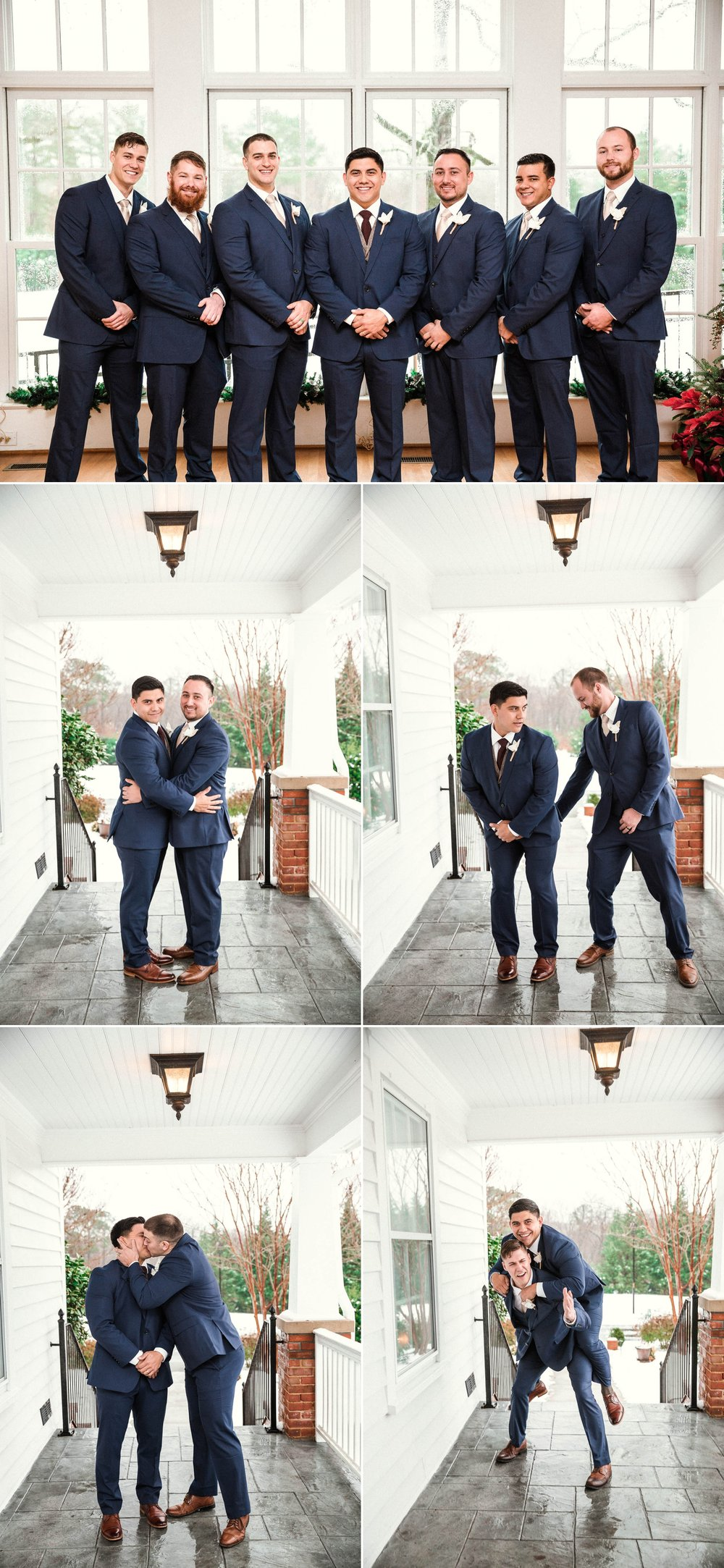 groomsman portraits - Jessica + Brandon - Snowy Winter Wedding at the Rand Bryan House in Garner, NC - Raleigh North Carolina Wedding Photographer