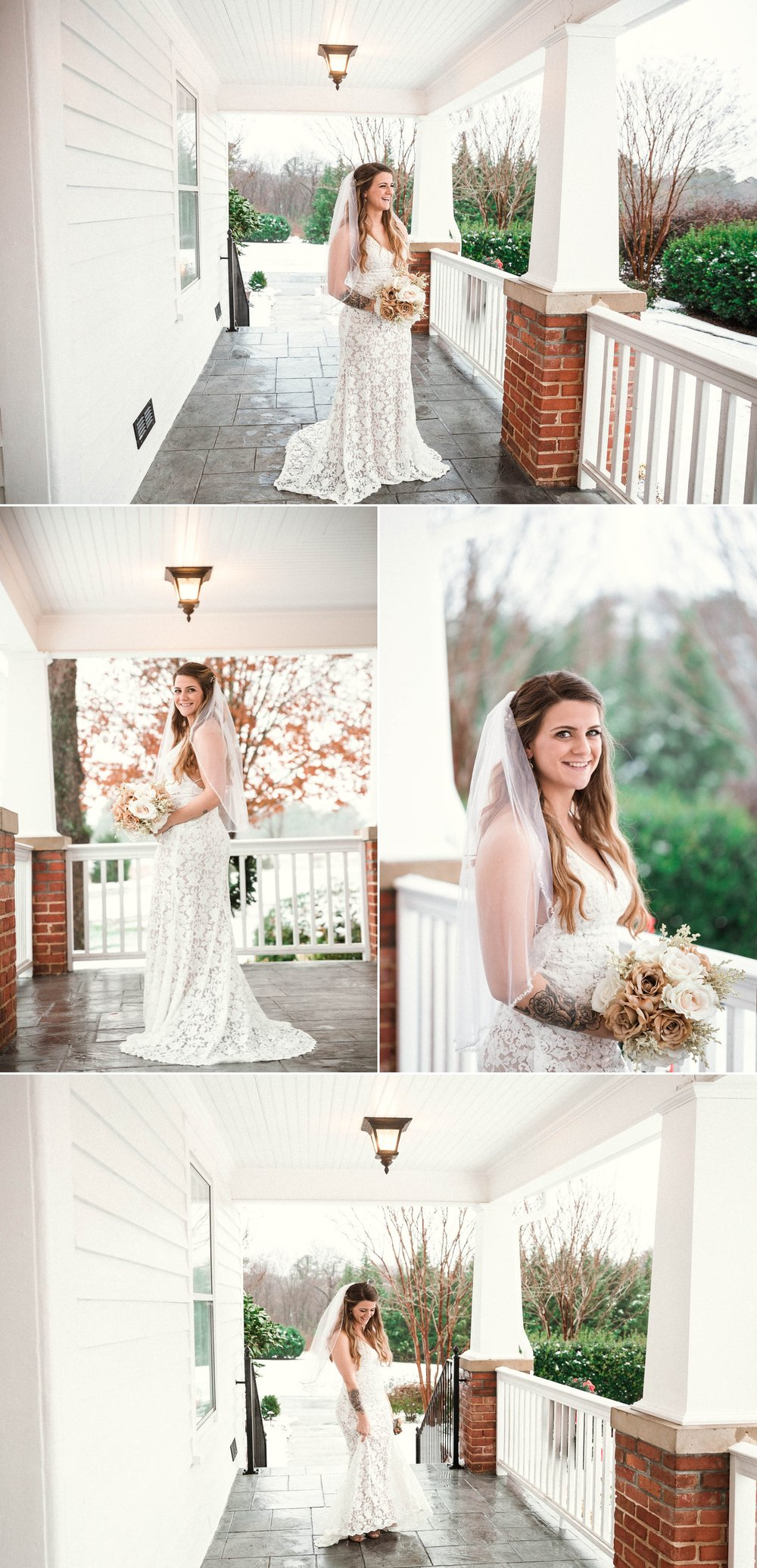 Bridal Portraits in the snow on the front porch - Jessica + Brandon - Snowy Winter Wedding at the Rand Bryan House in Garner, NC - Raleigh North Carolina Wedding Photographer