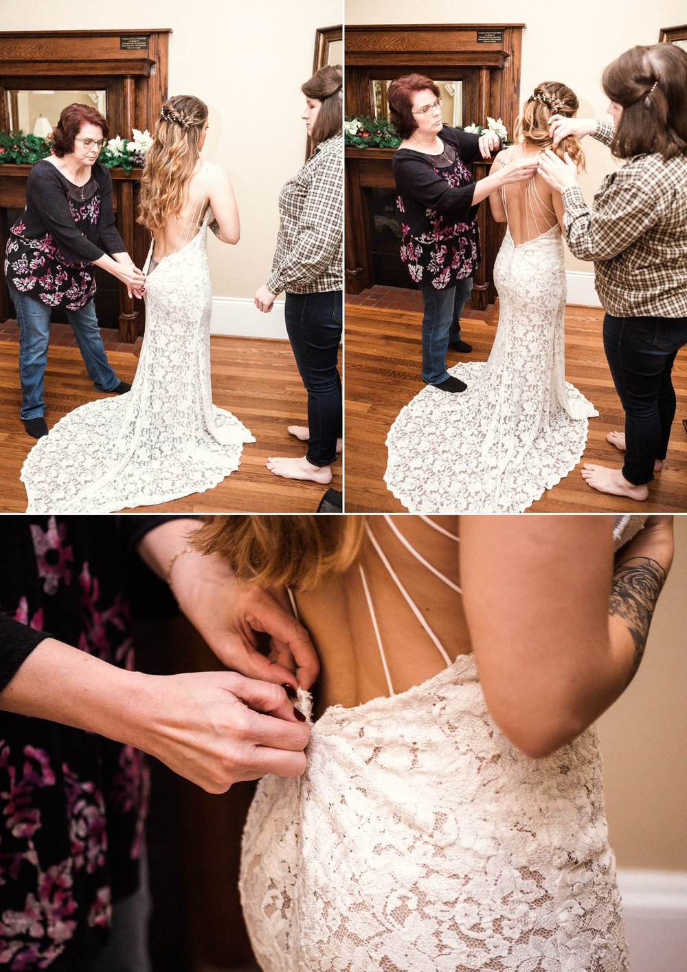 Bride getting into her dress - Jessica + Brandon - Snowy Winter Wedding at the Rand Bryan House in Garner, NC - Raleigh North Carolina Wedding Photographer