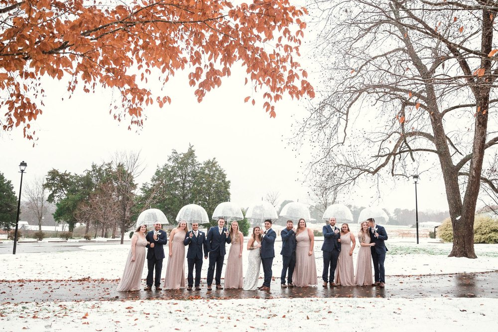 Wedding Party Portraits - Jessica + Brandon - Snowy Winter Wedding at the Rand Bryan House in Garner, NC - Raleigh North Carolina Wedding Photographer