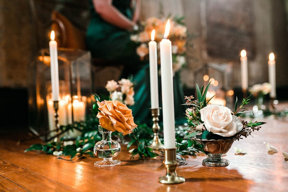 Detail shots of flower and candle set up - Wedding inspiration styled shoot - bold and vibrant Emerald City Green Wedding Inspiration - Oahu Hawaii Wedding Photographer - Johanna Dye Photography