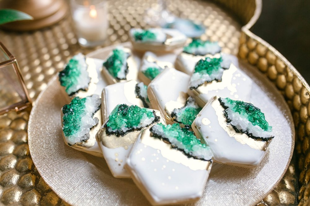 Wedding Favor Inspiration - Cookies with geode and rock crystals in emerald and green tones - oahu hawaii wedding photographer