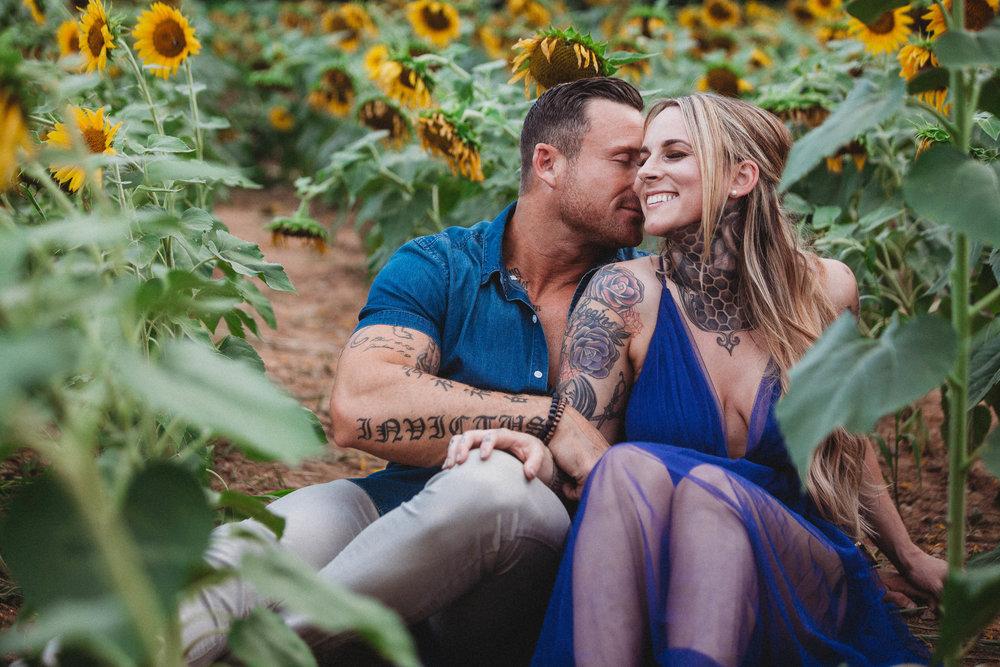 Hannah + Brandon   Sunflower Engagement Session