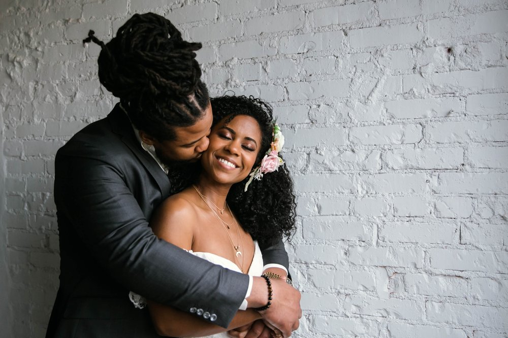 Natural light Indoor Portrait by a window of Bride and Groom - African American boho tropical wedding inspiration by Honolulu, Oahu, Hawaii Photographer - Black Love