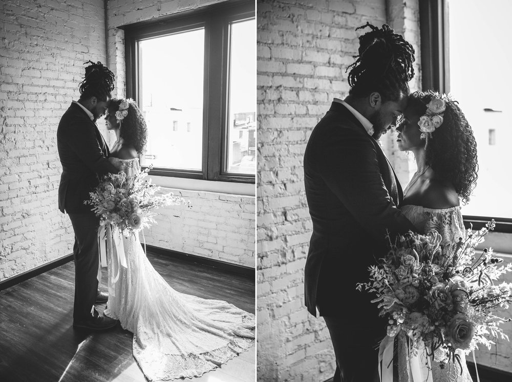 Black and White photos - Natural light Indoor Portrait by a window of Bride and Groom - Black Love boho tropical wedding inspiration by Honolulu, Oahu, Hawaii Photographer - African American Couple