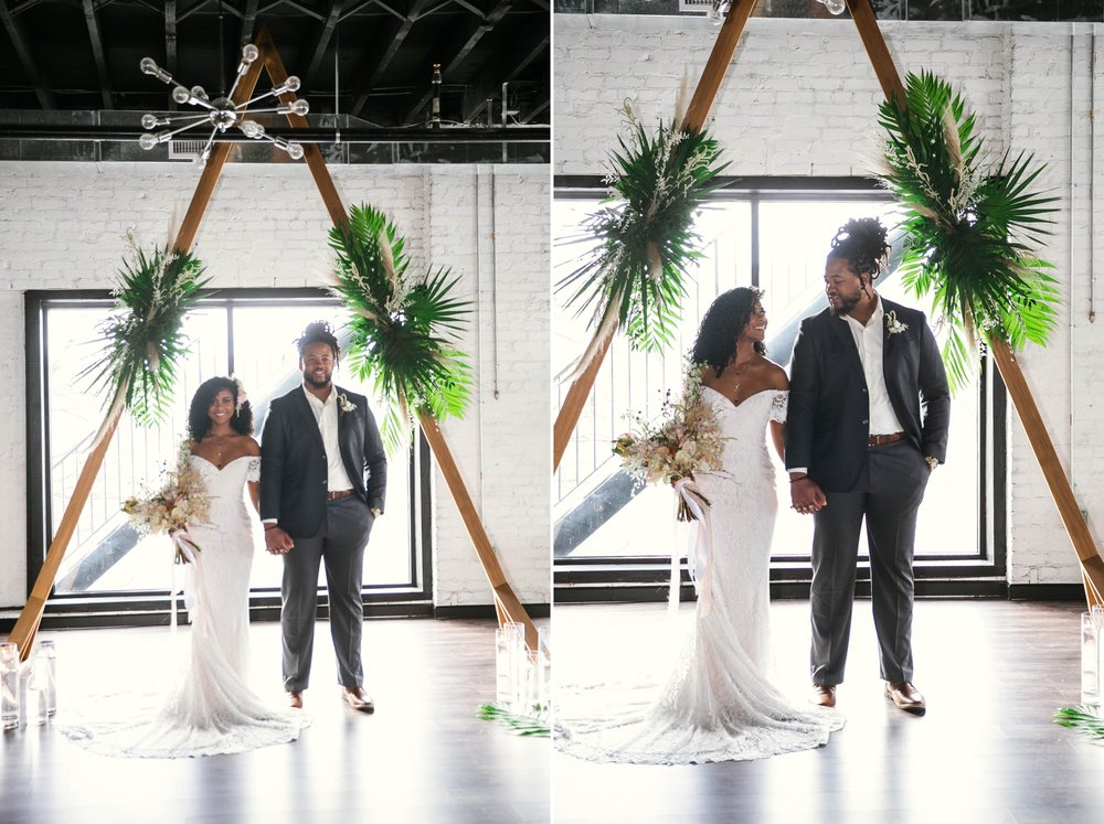 Bride and Groom at the altar - boho tropical wedding inspiration - black love - honolulu, oahu, hawaii wedding photographer