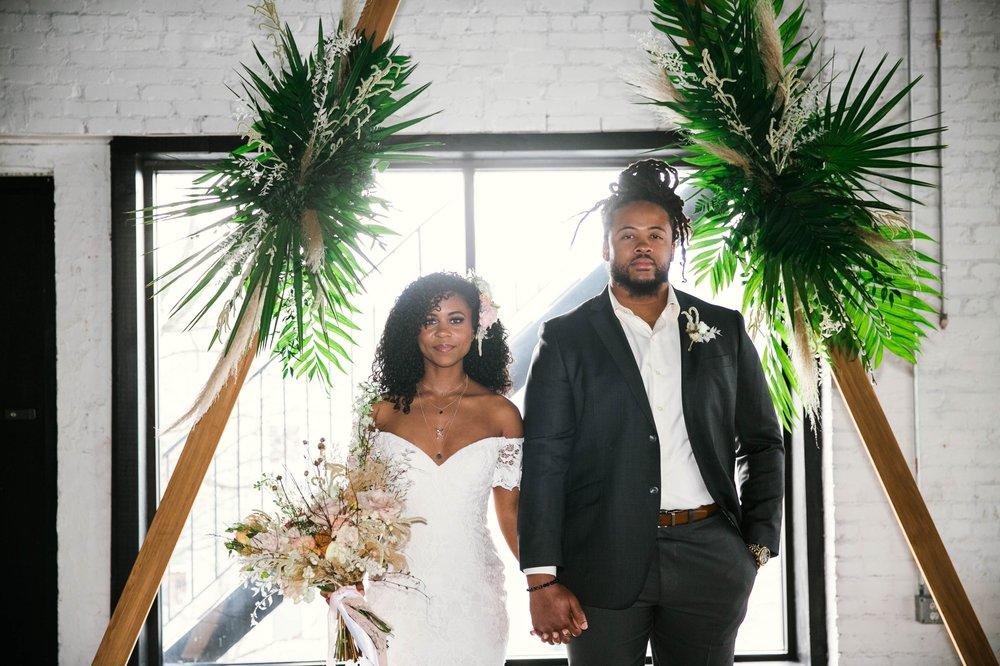 Bride and Groom at the altar - boho tropical wedding inspiration - black love - honolulu, oahu, hawaii wedding photography