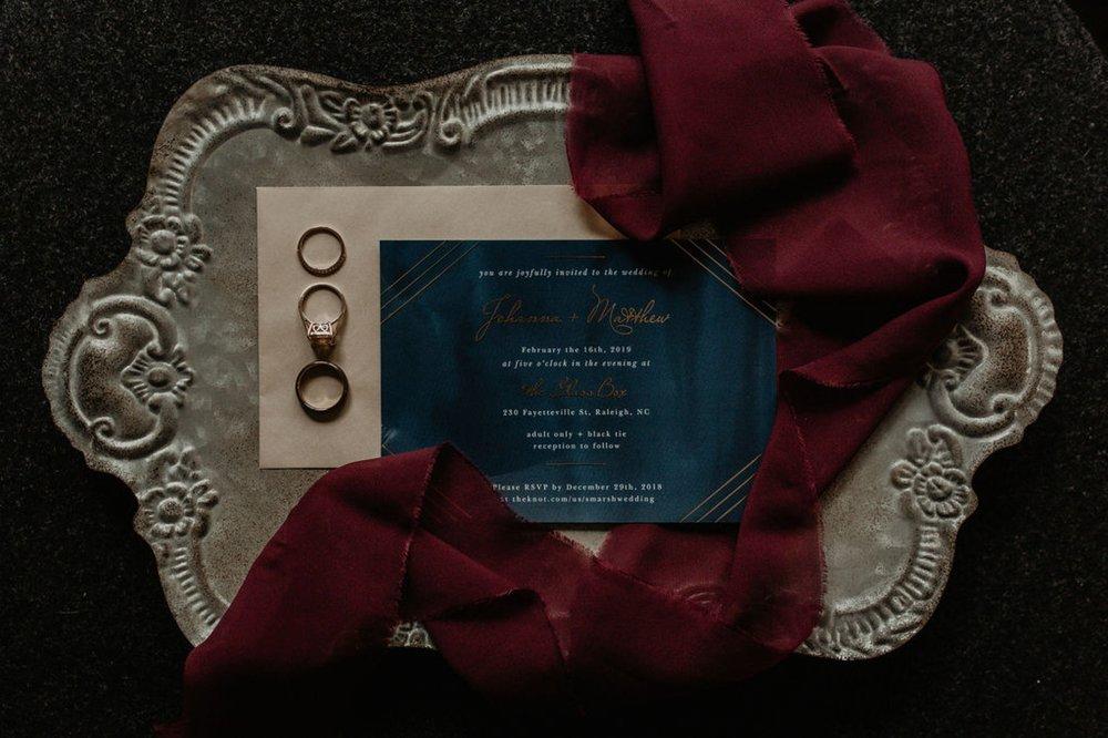 Invitation Suite by Basic Invite with Bridal Details Lay flat - Matt Smarsh and Johanna Dye - Raleigh North Carolina Urban Edgy Downtown Wedding