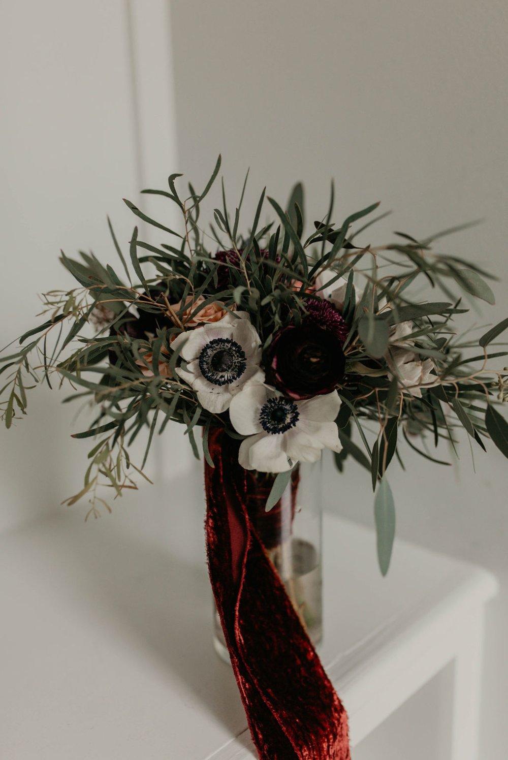 Bridal Bouquet with Matt Smarsh and Johanna Dye - Raleigh North Carolina Urban Edgy Downtown Wedding