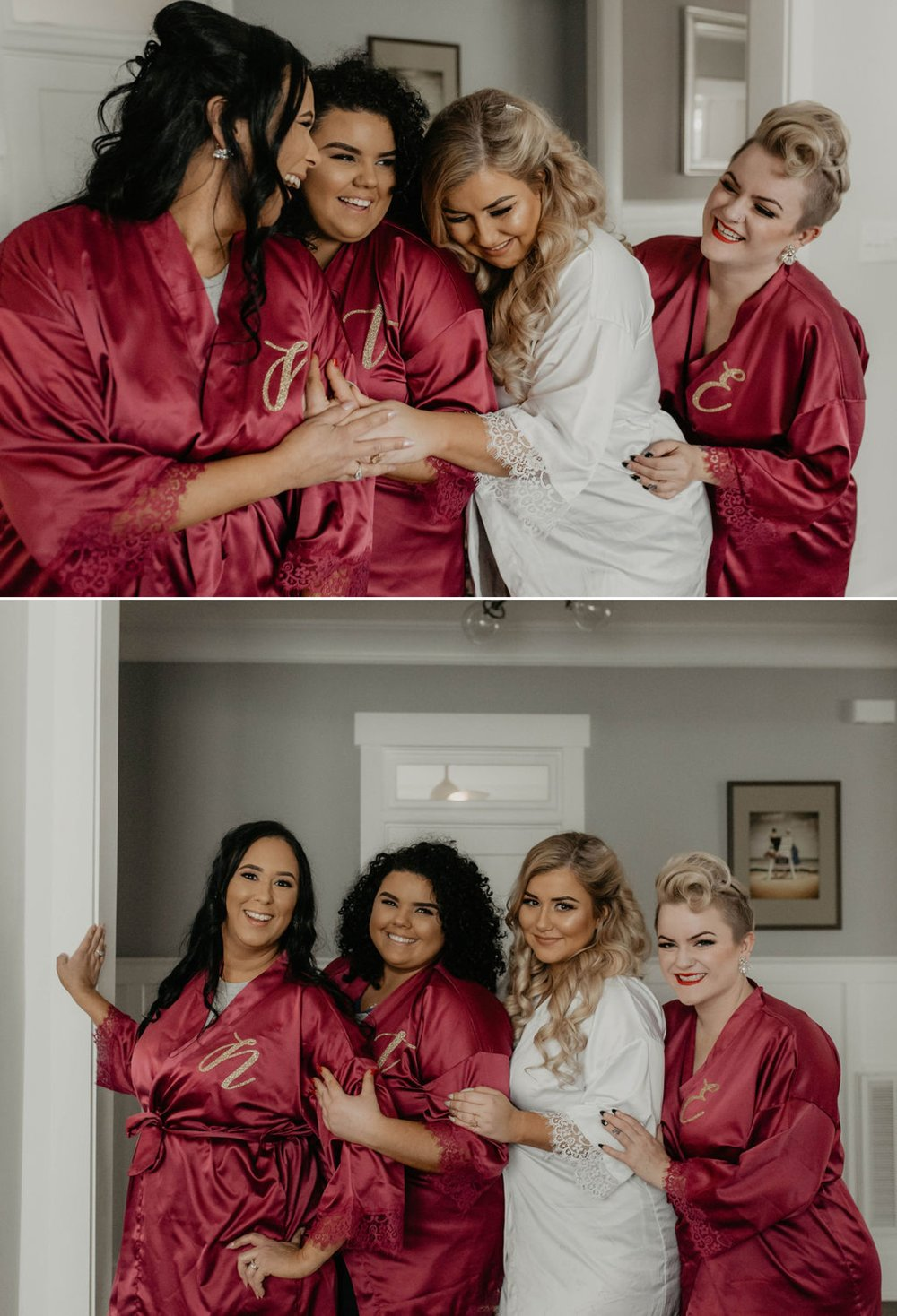 Bridesmaids in white and burgundy satin robes - Matt Smarsh and Johanna Dye - suites by the black tux - Raleigh North Carolina Urban Edgy Downtown Wedding