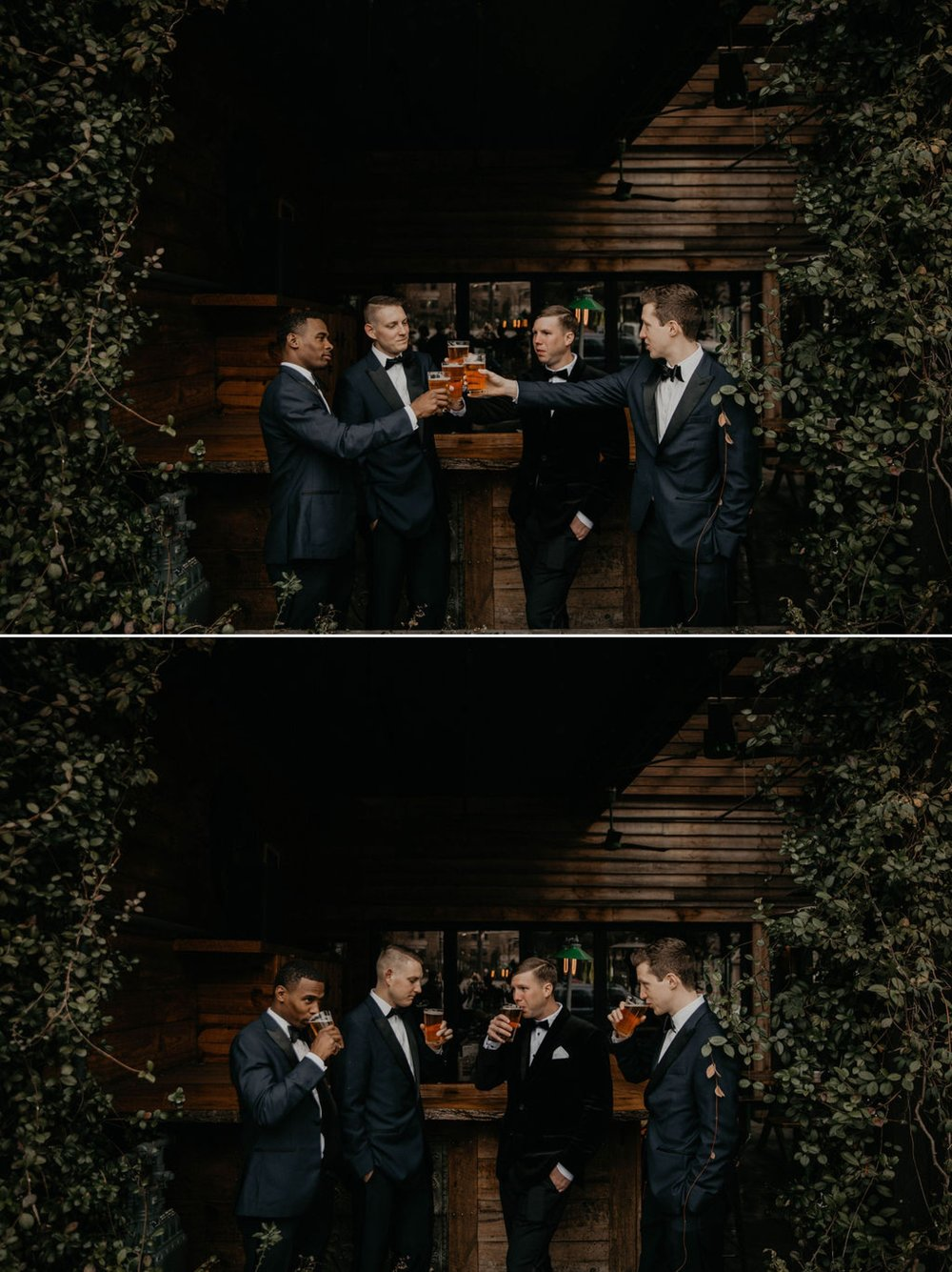 groom and groomsmen drinking beer and hanging out before the wedding at The raleigh beer garden - Matt Smarsh and Johanna Dye - suites by the black tux - Raleigh North Carolina Urban Edgy Downtown Wedding - suits by the black tux