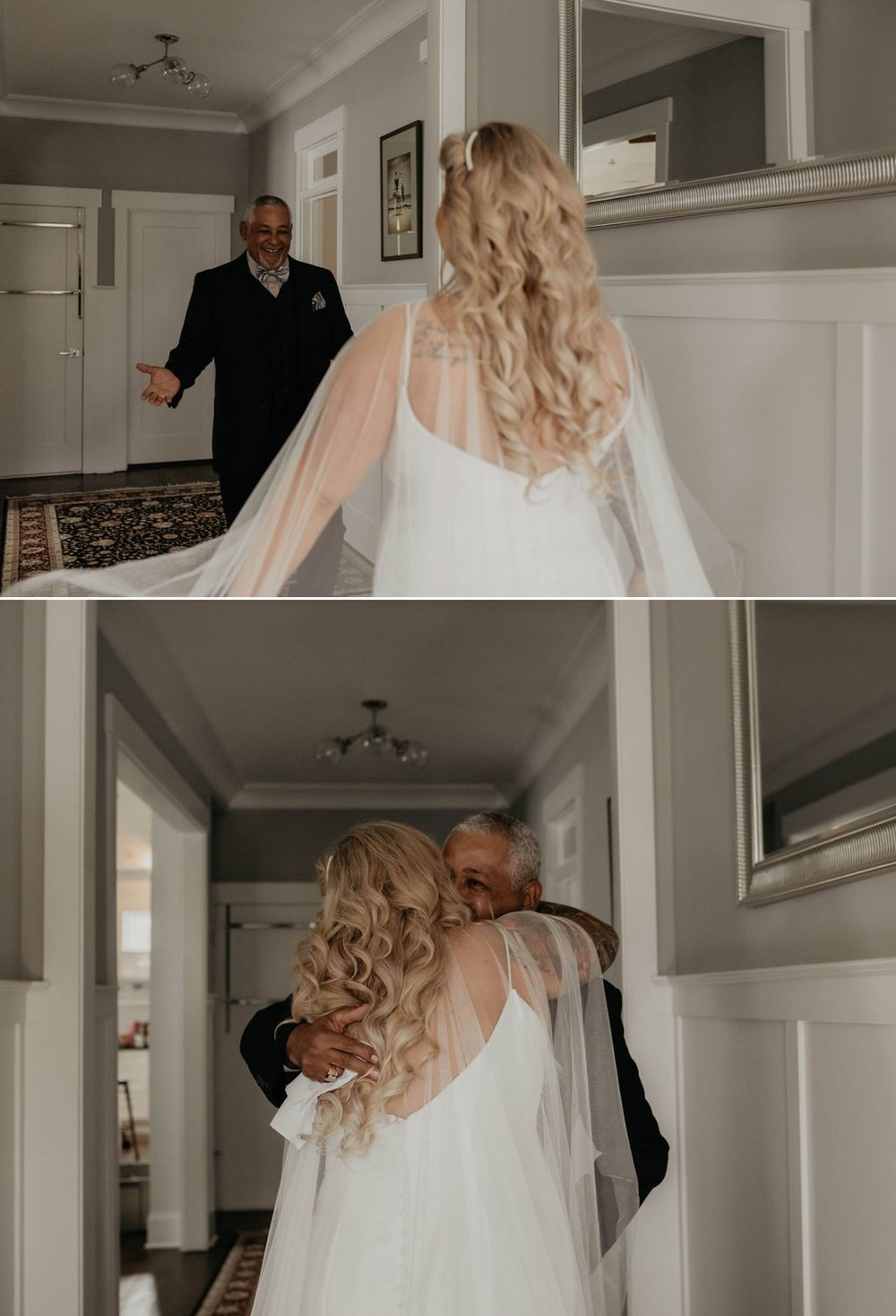 First look between bride and her father - Bride in an Allure Bridals Mermaid Gown  - Matt Smarsh and Johanna Dye - suites by the black tux - Raleigh North Carolina Urban Edgy Downtown Wedding - suits by the black tux
