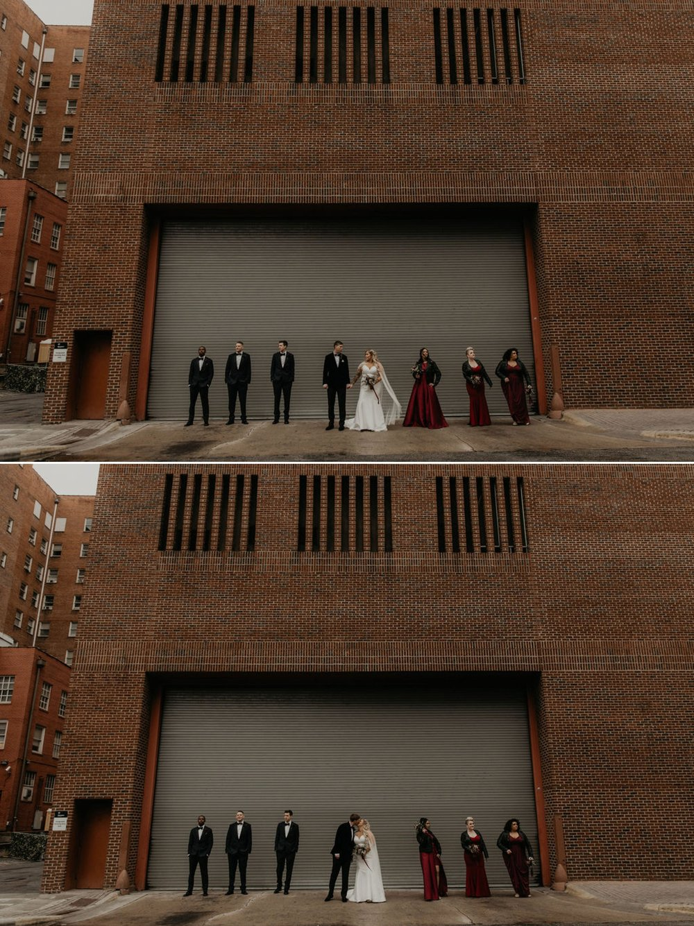 Downtown Wedding Party Portraits - Bride in an Allure Bridals Mermaid Gown - Burgundy Bridesmaids dresses by davids bridal Matt Smarsh and Johanna Dye - suites by the black tux - Raleigh North Carolina Urban Edgy Downtown Wedding - suits by the black tux