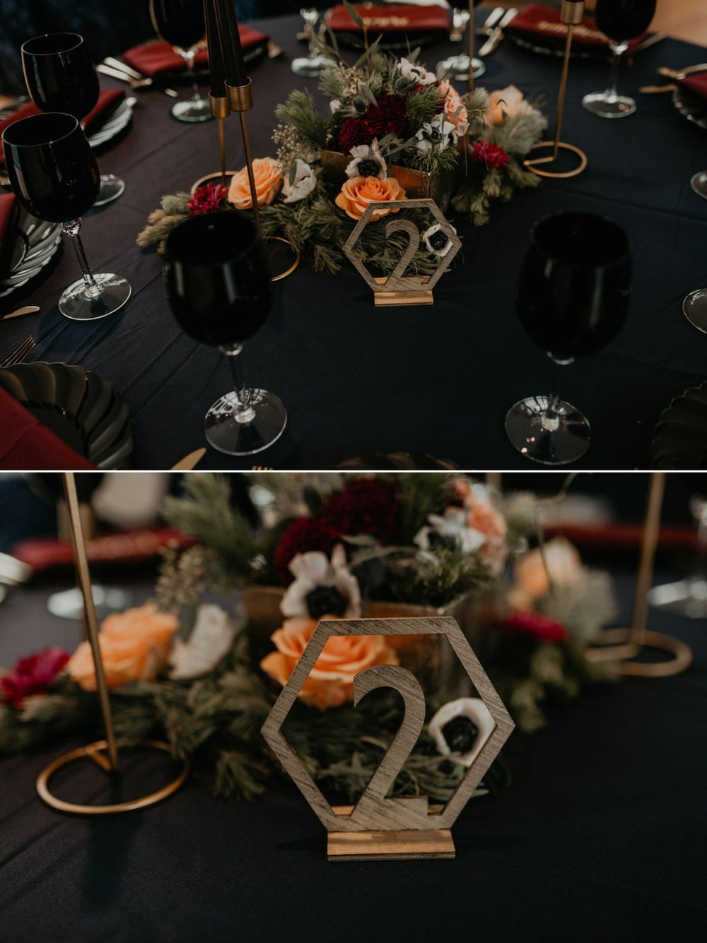dark wedding table decorations - Navy tablecloth with burgundy napkins and gold laser cut name place cards, gold silverwear and black plates and black wine glasses by ce rental - dark flowers centerpiece - gold table number - gold candle stick holder with black candles - Matt Smarsh and Johanna Dye - Raleigh North Carolina Urban Downtown Wedding at the Glass Box at 230